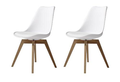Tenzo 3317-454 Bess 2er-Set Designer Esszimmerstühle, Kunststoffschale mit Sitzkissen in Lederoptik, Untergestell Eiche massiv, 82 x 48 x 54 cm, weiß / eiche