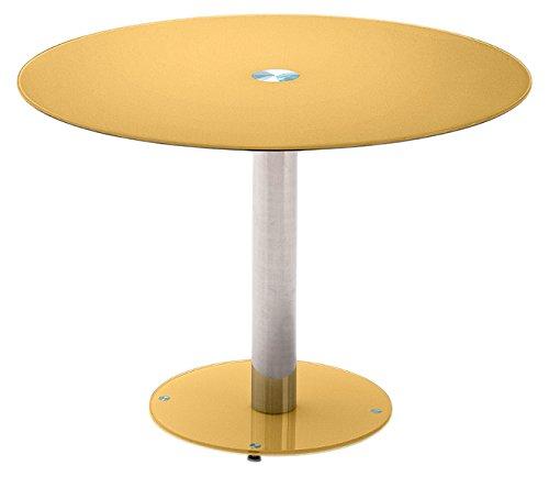Tisch, Glastisch, Küchentisch, Beistelltisch, Esstisch;Säulentisch, rund, Sicherheitsglas lackiert, curry, orange, gelb, Säule verchromt, Durchmesser Tischplatte 100 cm, Bodenplatte 49,5 cm,  B/ H/ T 100/ 77/ 100 cm