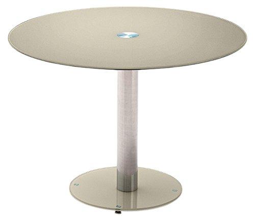 Tisch, Glastisch, Küchentisch, Beistelltisch, Esstisch;Säulentisch, rund, Sicherheitsglas lackiert, taupe, Säule verchromt, Durchmesser Tischplatte 100 cm, Bodenplatte 49,5 cm, B/ H/ T 100/ 77/ 100 cm