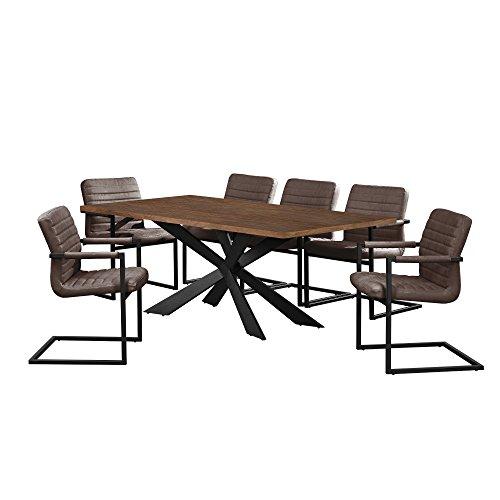 [en.casa] Esstisch Walnuss mit 6 Stühlen Freischwinger gepolstert dunkelbraun 200x100cm Esszimmer Essgruppe Küche