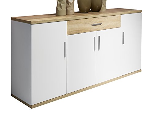 trendteam aa87241 sideboard wohnzimmerschrank weiss hochglanz absetzungen eiche s gerau hell. Black Bedroom Furniture Sets. Home Design Ideas
