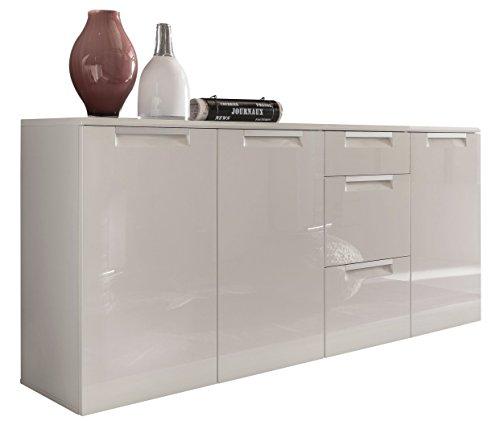 trendteam AL87601 Sideboard Wohnzimmerschrank weiss Hochglanz, BxHxT 180 x 84 x 40 cm