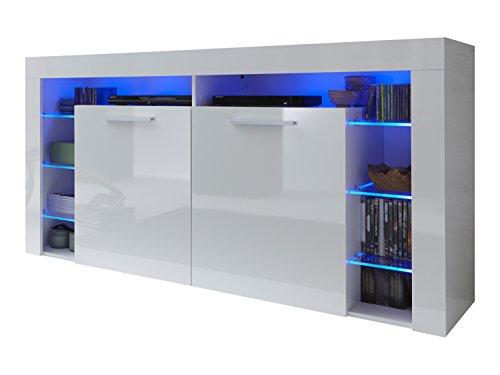 trendteam SC87201 Sideboard weiss Hochglanz, BxHxT 179 x 89 x 44 cm, inkl. Beleuchtung