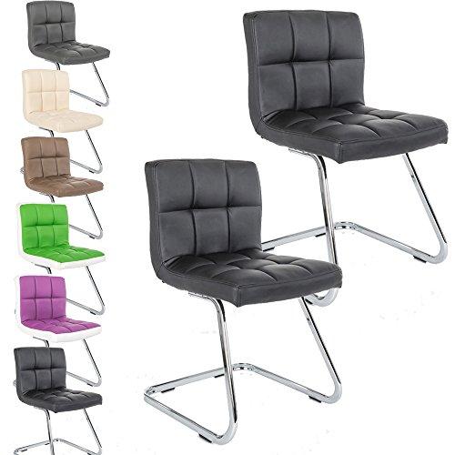 2 x Lounge Stuhl Freischwinger Kunigunde - Konferenzstuhl - Küchenstuhl - viele Farben - Retro Look - Barstuhl - Esszimmerstuhl - Polsterstuhl (Schwarz)