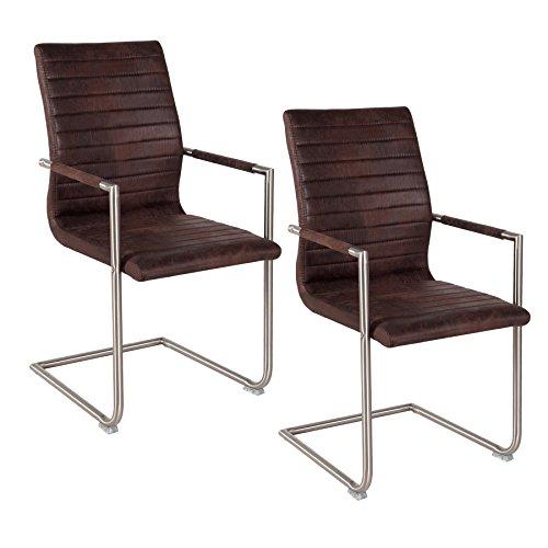 2er Set Edelstahl Freischwinger Stuhl RICHMOND coffee mit Armlehnen und Design Steppung