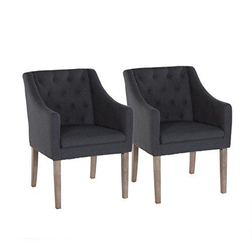 2er Set Esszimmer- Wohnzimmerstuhl Stuhl Sessel mit Armlehnen Sessel dunkelgrau Loungesessel