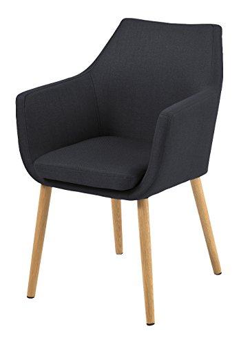 AC Design Furniture 59331 Armstuhl Trine, 58 x 58 x 84 cm, Sitz/Rücken Stoff Corsica anthrazit