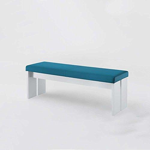 Bank in Blau-Weiß ohne Lehne Breite 160 cm Sitzplätze 3 Sitzplätze Pharao24