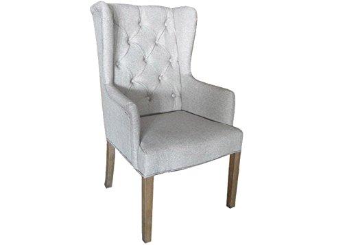 Bequemer Esszimmerstuhl grau mit Armlehne Polsterstuhl Sitzmöbel Praxisstuhl