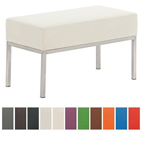 CLP 2er Edelstahl-Sitzbank LAMEGA, 80x40 cm, Gestell Edelstahl gebürstet, 15 cm dickes Polster (bis zu 11 Farben wählbar) creme