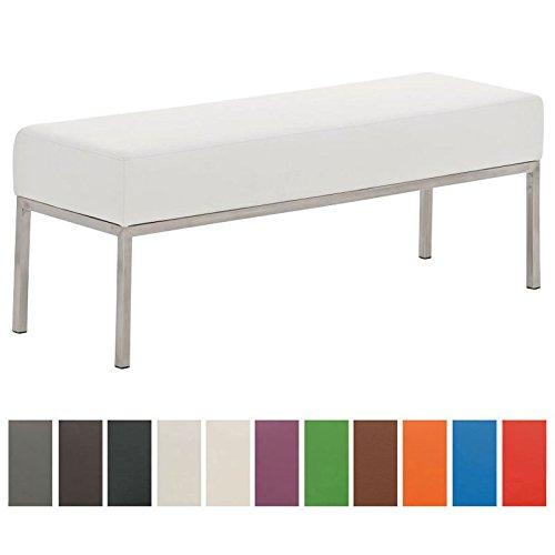 CLP 3er Edelstahl-Sitzbank LAMEGA, 120x40 cm, Gestell Edelstahl gebürstet, 15 cm dickes Polster (bis zu 11 Farben wählbar) weiß