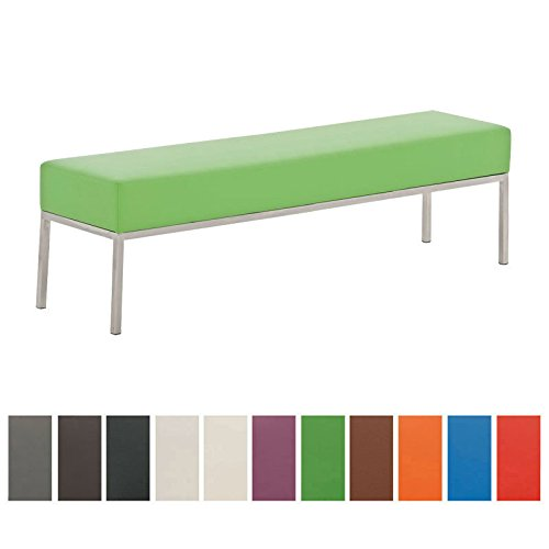 CLP 4er Edelstahl-Sitzbank LAMEGA, 160x40 cm, Gestell Edelstahl gebürstet, 15 cm dickes Polster (bis zu 11 Farben wählbar) grün