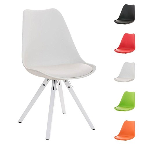 CLP Design Retro Stuhl PEGLEG SQUARE mit Holzgestell weiß, Materialmix aus Kunststoff, Kunstleder und Holz, FARBWAHL weiß
