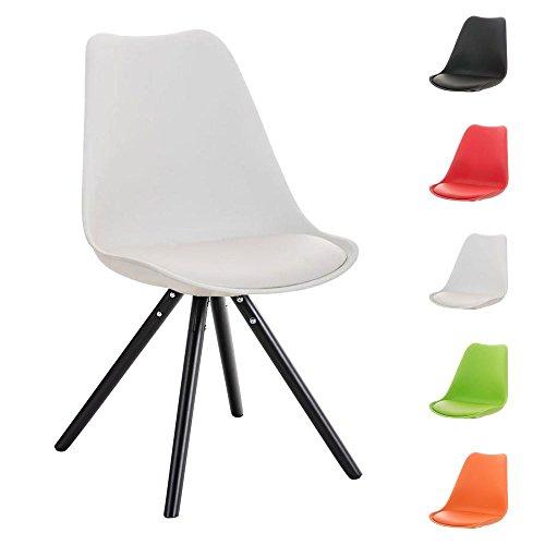 CLP Design Retro Stuhl PEGLEG mit Holzgestell schwarz, Materialmix aus Kunststoff, Kunstleder und Holz, FARBWAHL weiß