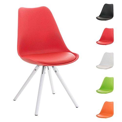 CLP Design Retro Stuhl PEGLEG mit Holzgestell weiß, Materialmix aus Kunststoff, Kunstleder und Holz, FARBWAHL rot