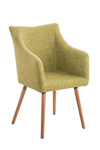 CLP Design-Stuhl MCCOY mit gut gepolsterter Sitzfläche aus Stoff und Holzgestell - aus bis zu 7 Farben wählen grün