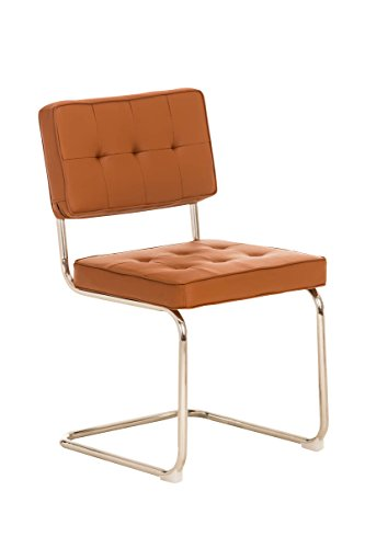 CLP Retro Freischwinger-Stuhl CHIVA Kunstleder Bezug - aus 3 Farben wählen bernstein