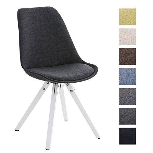 CLP Retro Stuhl PEGLEG SQUARE mit Holzgestell weiß und Stoffsitz, Besucherstuhl im stilvollen Design, FARBWAHL dunkelgrau