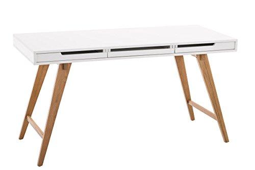 CLP Schreibtisch PORTO aus MDF & Eichenholz, mit Schubladen & großer Arbeitsfläche, bis zu 2 Größen wählbar 140 x 60 cm