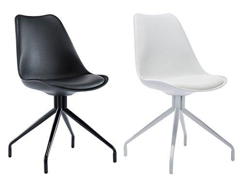 CLP Wartezimmer-Stuhl SPIDER, exklusives Design, Materialmix aus Kunststoff, Kunstleder und Metall weiß/weiß