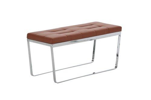CLP gepolsterte Sitzbank LUSANO - edles Design in Chromoptik, 6 cm dicke Polsterung, aus bis zu 11 Farben wählen, Größe: 100 x 40 cm hellbraun