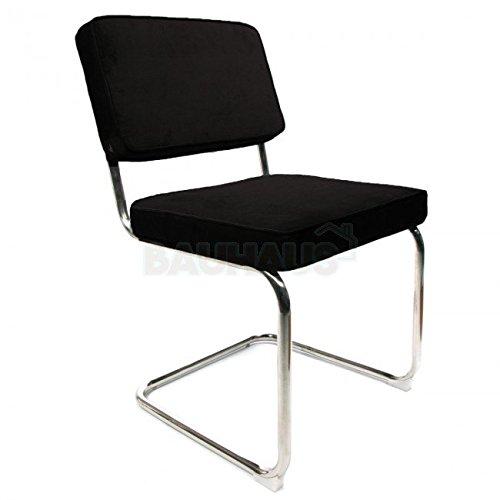 Cord Stuhl schwarz Esszimmerstuhl / Konferenzstuhl Retro Corduroy