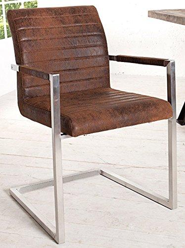 DuNord Design Stuhl Freischwinger VIENNA m Armlehnen Esszimmer Vintage coffee Edelstahl