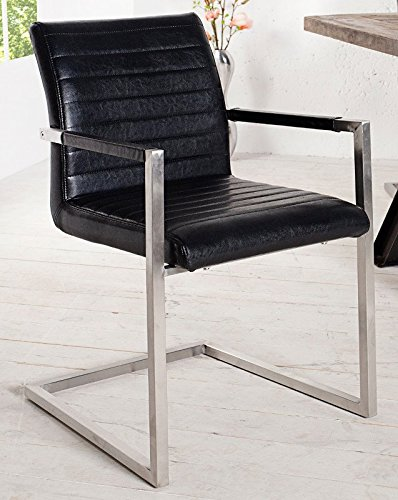DuNord Design Stuhl Freischwinger VIENNA m Armlehnen Esszimmer schwarz Microfaser Edelstahl