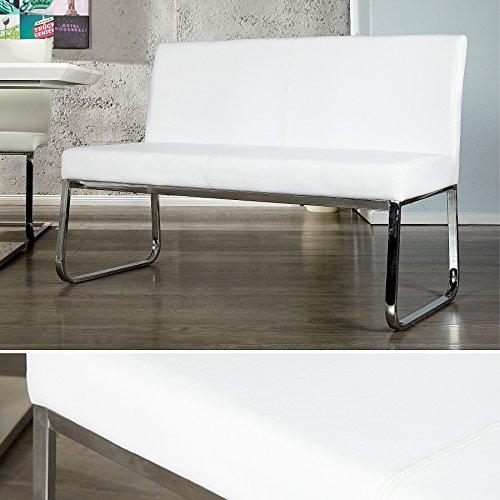 Elegante Design Sitzbank HAMPTON mit Rückenlehne weiss 120 cm