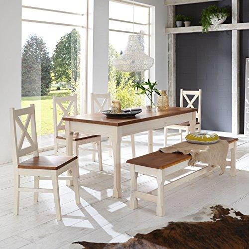 Essgruppe KRETA Essecke Pinie Set Esstisch + 4 Stühle + Bank Massiv Holz Garnitur