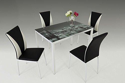 Essgruppe, Sitzgruppe, Essgarnitur, Esszimmergarnitur, Esstisch, Stühle, Esszimmertisch, Küchentisch, schwarz, weiß, Kunstleder, Brooklyn Bridge