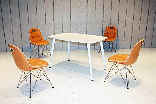 Essstisch PEP mit Stühlen Anja 5tlg. Kombi orange weiß