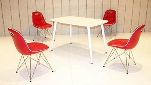 Essstisch PEP mit Stühlen Anja 5tlg. Kombi rot weiß