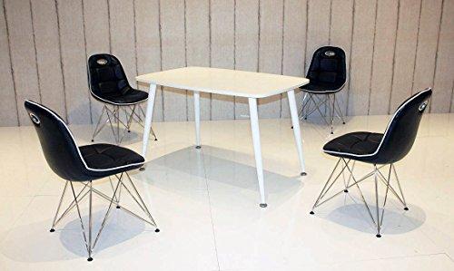 Essstisch PEP mit Stühlen Anja 5tlg. Kombi schwarz weiß