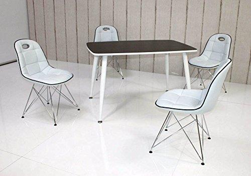 Essstisch PEP mit Stühlen Anja 5tlg. Kombi weiß schwarz