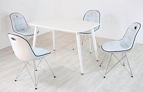 Essstisch PEP mit Stühlen Anja 5tlg. Kombi weiß weiß