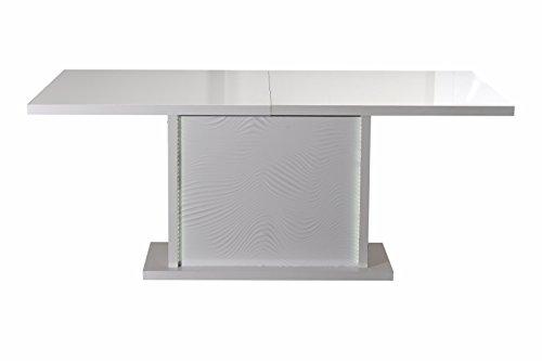 Esstisch 180 / 225 cm weiß Hochglanz Lack inkl. LED Akku Beleuchtung Design Esszimmertisch Glas Ess Tisch Esszimmer