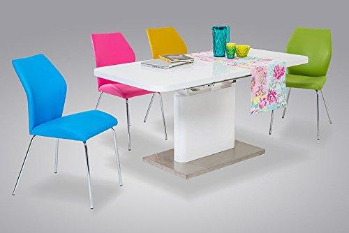 Esstisch, Tisch, Küchentisch, Esszimmertisch, rechteckig, Säulentisch, Ausziehtisch, ausziehbar, Butterflyauszug, weiß, Hochglanz, Edelstahl, 160x90cm