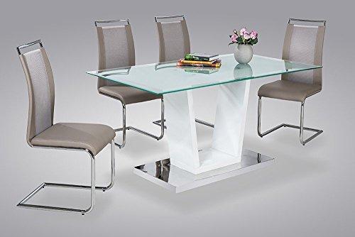 Esstisch, Tisch, Küchentisch, Esszimmertisch, rechteckig, Säulentisch, weiß, Hochglanz, Edelstahl, Glas, 160 x 90 cm