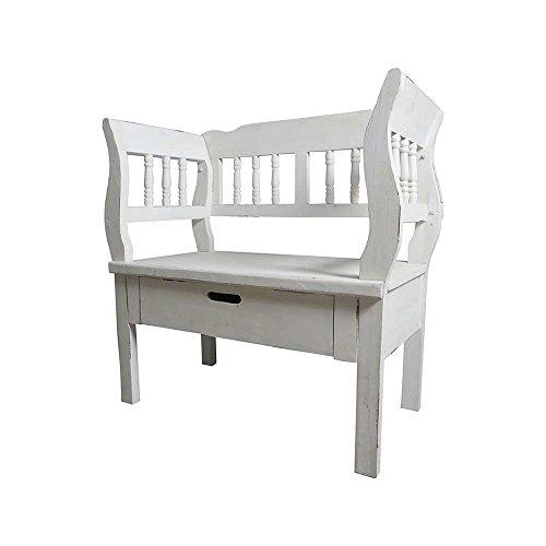 Garderobenbank im Shabby Chic Design Armlehnen Breite 80 cm Sitzplätze 1 Sitzplatz Pharao24
