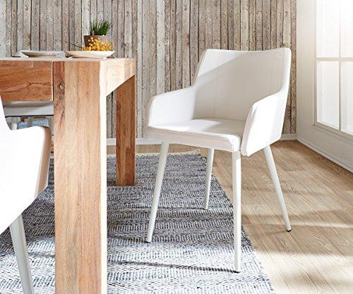 Küchenstuhl Volcan Beine Metall Weiss mit Armlehnen Esszimmerstuhl