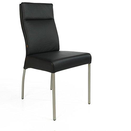 Lederstuhl Stuhl Gatto Rindsleder | Besucherstuhl Leder Stuhl Stühle Schwarz