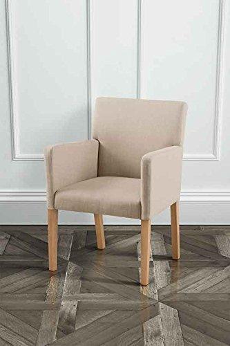 MY-Furniture LANGDON Hochwertiger, Gepolsterter Esszimmerstuhl mit Armlehnen in Beige