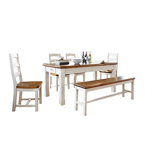 Massivholz-Tischgruppe Capella in Weiß (6-teilig) Pharao24