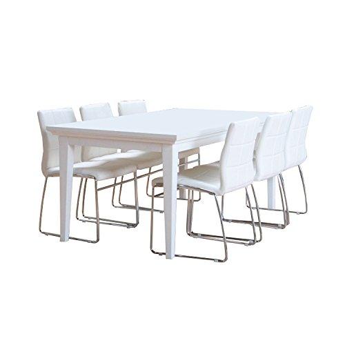 Milano Essgruppe, 9-teilig 180x90 cm, MDF weiss hochglanz inkl. 8 x Esszimmerstühle