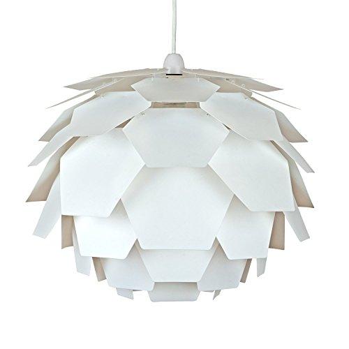 MiniSun - Moderner und weißer Lampenschirm in Form der Artischocke und im Designerstil - für Hänge- und Pendelleuchte