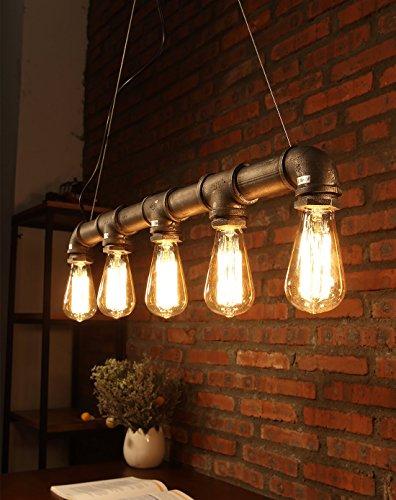 Natsen® kreative Persönlichkeit Retro Kronleuchter Bar Pendelleuchten Balkon treppe Industrierohre Stil Wasser Leuchterlampe CD084
