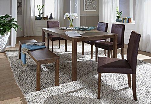 SAM® 6tlg Tischgruppe, Essgruppe Tom, 160 cm, nussbaumfarbig im Antik-Look, Sitzgruppe bestehend aus 1 x Esstisch Tom, 4 x Polsterstuhl Billi, 1 x Sitzbank Tom