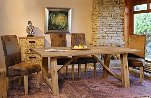 SAM® 7tlg Tischgruppe Ares II 200 cm bianco Wildeiche Stühle Piacenza