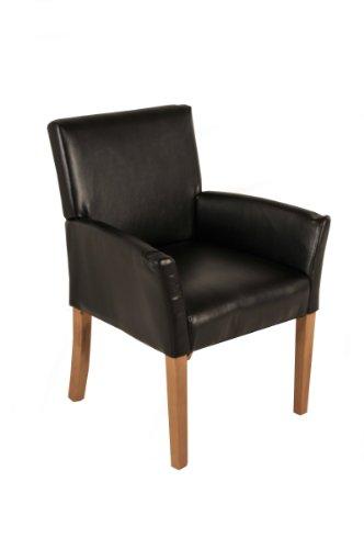 SAM® Esszimmer Armlehnenstuhl, Relaxsessel Baceno in braun, SAMOLUX®-Bezug, Stuhl mit buche-farbenen Beinen aus Massiv-Holz, Esszimmerstuhl mit angenehmer Polsterung für hohen Sitzkomfort